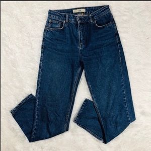 "Topshop 11"" High Rise Moto Mom Jeans"